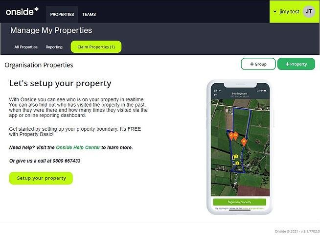 Claim properties